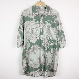 Vintage Italian baroque polo shirt green cream